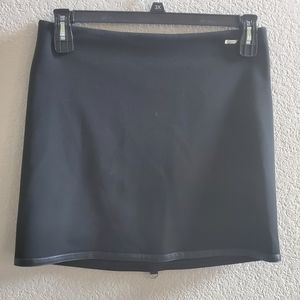 **Fitelle Mini Skirt Trimmed with Leather